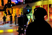 Cameraman records show in a TV Studio