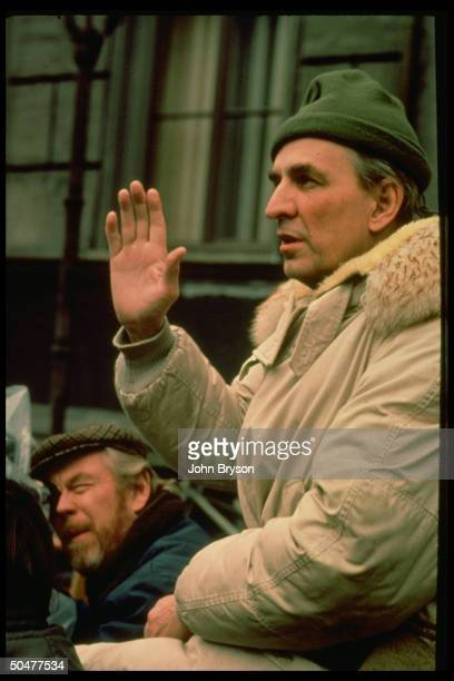 Cameraman Sven Nykvist dir Ingmar Bergman on set of motion picture The Serpent's Egg