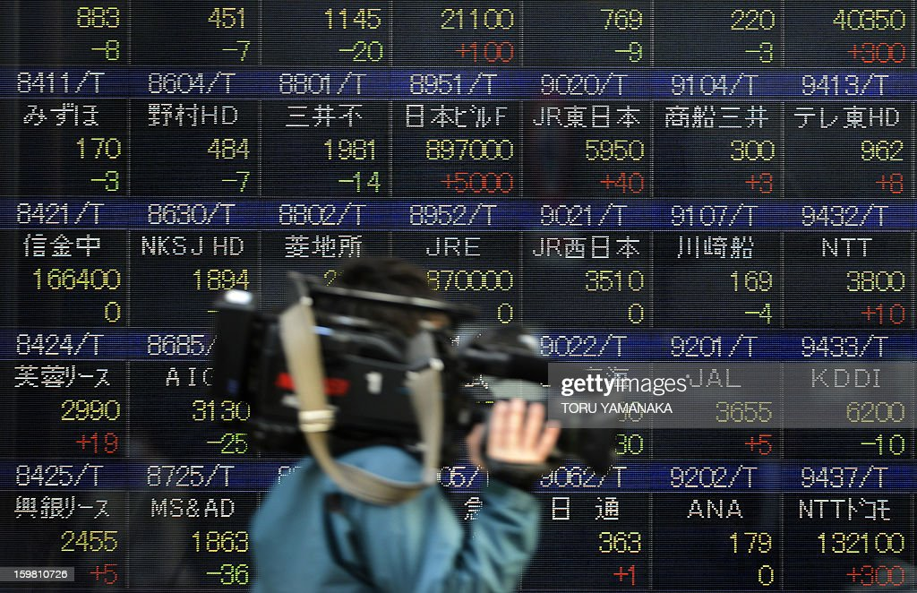A TV cameraman walks past an electric quotation board flashing share prices of the Tokyo Stock Exchange (TSE) in front of a securities company in Tokyo on January 21, 2013. Tokyo stocks closed 1.52 percent lower on January 21 after rallying at the end of last week to a 33-month high, and as the Bank of Japan begins a two-day policy meeting. AFP PHOTO/Toru YAMANAKA