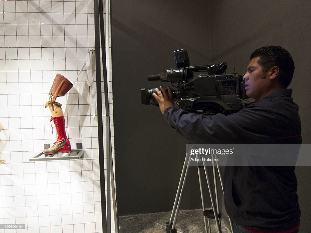Cameramen during the presentation of the exhibition Las Apariencias Engañan: The Frida Kahlo Dresses presented by Vogue magazine at Frida Kahlo´s museum on November 21, 2012 in Mexico City, Mexico.