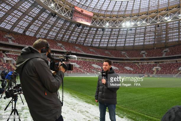 Cameramen film during an official media tour of the Luzhniki Stadium on December 1 2017 in Moscow Russia