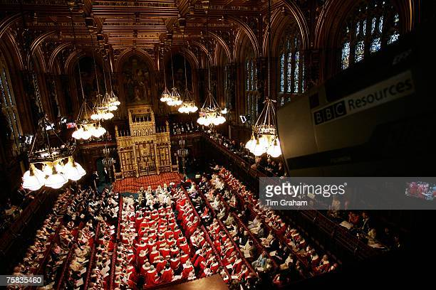 TV camerar films State Opening of Parliament in House of Lords Houses of Parliament England UK