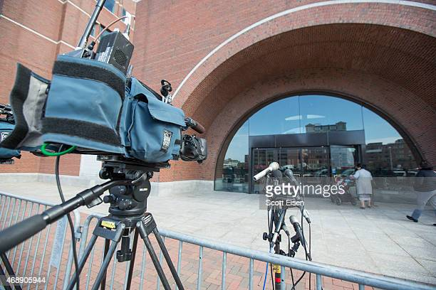 TV cameras and microphones set up outside of John Joseph Moakley United States Courthouse while the second day of deliberations begin in the Boston...