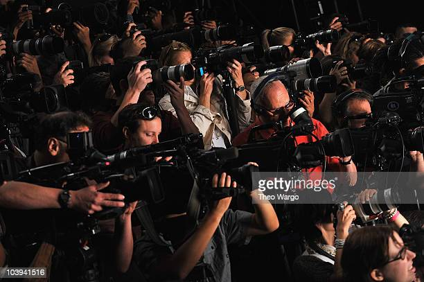Cameras and press during the Project Runway Spring 2011 fashion show during MercedesBenz Fashion Week at The Theater at Lincoln Center on September 9...