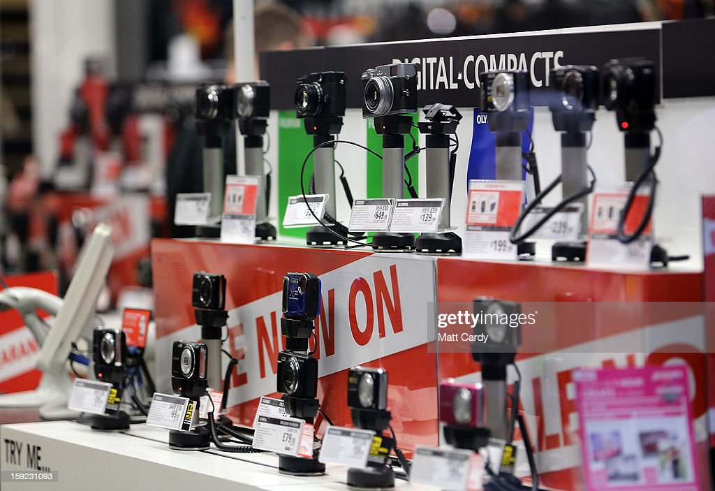 Cameras are displayed inside a branch of the photographic retailer Jessops on January 10, 2013 in Bath, England. The camera retailer, which was established in the 1930s, has called in administrators, a move which puts more than 2,000 jobs at risk at its 193 stores across the UK. The announcement comes on the day that Marks & Spencer reported worse than expected Christmas clothing sales.