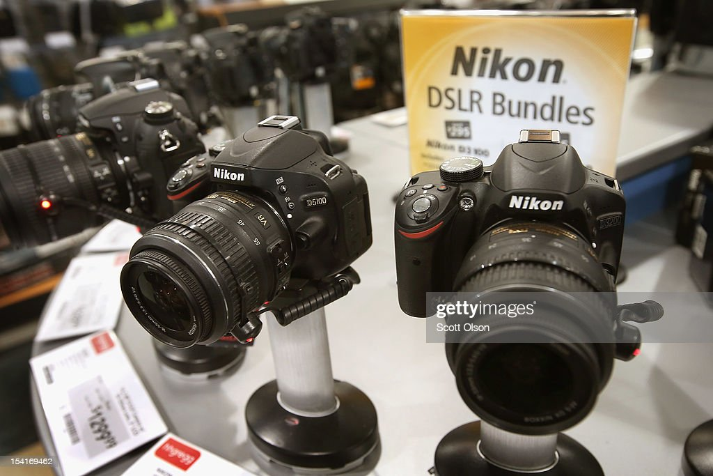 Cameras are offered for sale at an hhgregg store on October 15, 2012 in Niles, Illinois. Retail sales rose 1.1 percent last month with electronics and appliances leading the way with a 4.5 percent increase in sales.