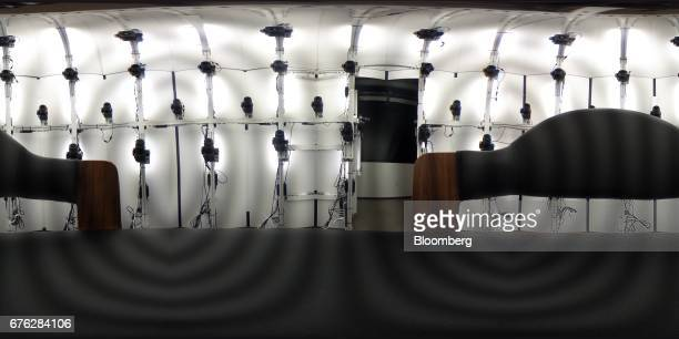 Cameras are seen in a photographic object mapping chamber at the hardware lab of the Microsoft Corp main campus in Redmond Washington US on Thursday...