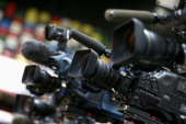 Cameras at the media launch for the Invictus Games 2014 at the Copper Box Arena in the Olympic Park on March 6 2014 in London England The Invictus...