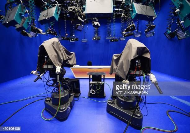 Cameras of the independent tv network RTL Klub Hungary's largest commercial media company are covered in a TV studio in Budapest on June 5 2014...