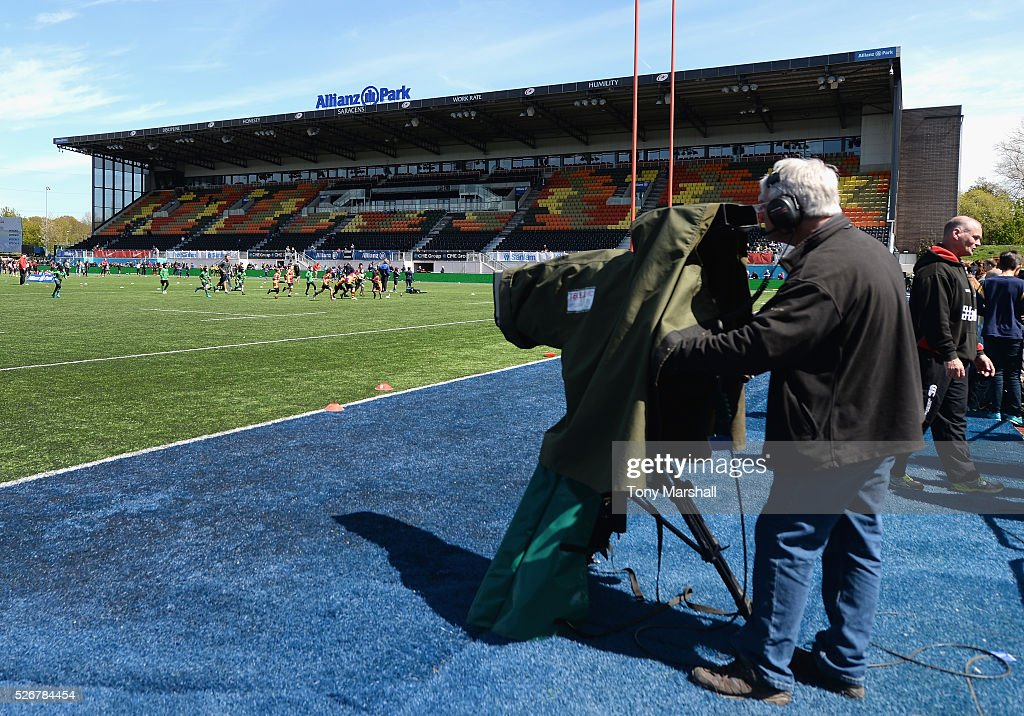TV cameras pictured during the Aviva Premiership match between Saracens and Newcastle Falcons at Allianz Park on May 1, 2016 in Barnet, England.