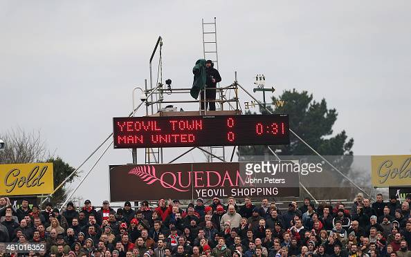TV camerman at work during the FA Cup Third Round match between Yeovil Town and Manchester United at Huish Park on January 4 2015 in Yeovil England