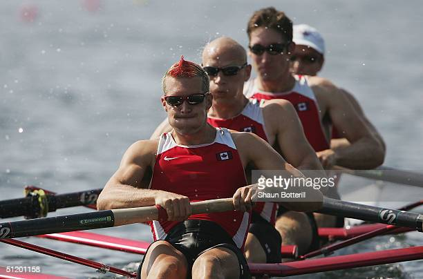 Cameron Baerg Thomas Herschmiller Jake Wetzel and Barney Williams of Canada compete in the men's four rowing final on August 21 2004 during the...