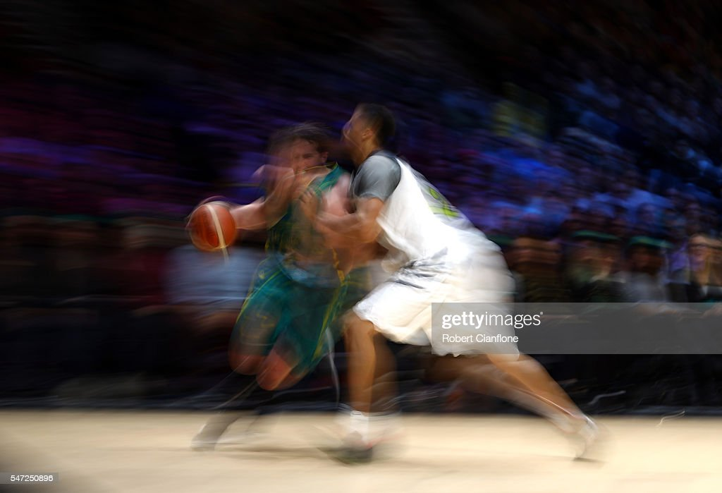 Cameron Bairstow of the Boomers is challenged by his opponent during the match between the Australian Boomers and the Pac-12 College All-stars at Hisense Arena on July 14, 2016 in Melbourne, Australia.