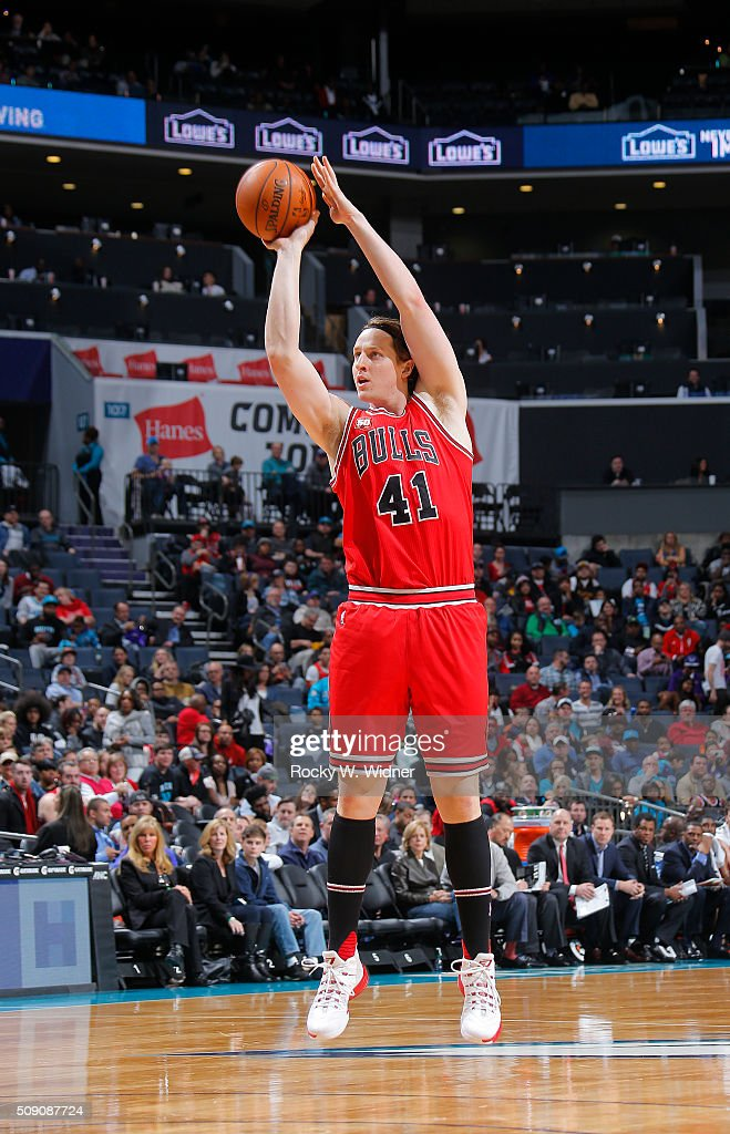 <a gi-track='captionPersonalityLinkClicked' href=/galleries/search?phrase=Cameron+Bairstow&family=editorial&specificpeople=7552199 ng-click='$event.stopPropagation()'>Cameron Bairstow</a> #41 of the Chicago Bulls shoots against the Charlotte Hornets on Februay 8, 2016 at Time Warner Cable Arena in Charlotte, North Carolina.