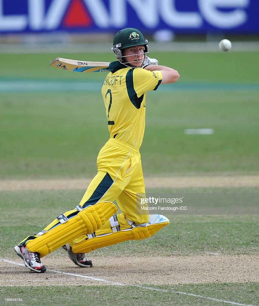 Cameron Bancroft cuts during the ICC U19 Cricket World Cup 2012 Semi Final match between Australia and South Africa at Tony Ireland Stadium on August 21, 2012 in Townsville, Australia.