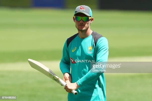 Cameron Bancroft looks on during an Australia training session at The Gabba on November 20 2017 in Brisbane Australia