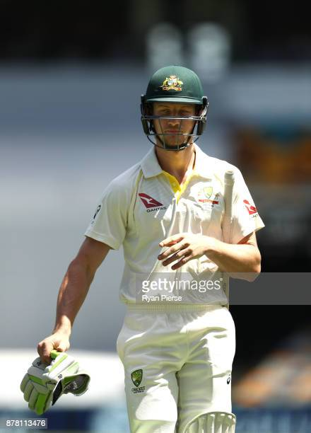 Cameron Bancroft of Australia looks dejected after being dismissed by Stuart Broad of England during day two of the First Test Match of the 2017/18...