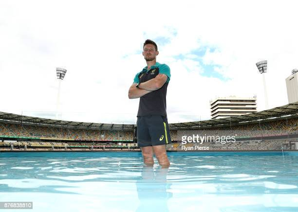Cameron Bancroft of Australia poses at the Gabba Pooldeck during a media session before the Australian nets session at The Gabba on November 21 2017...