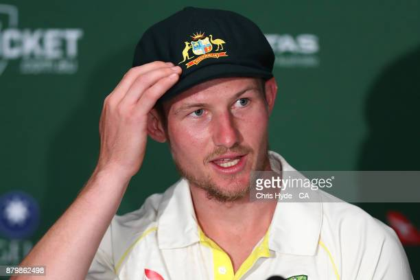 Cameron Bancroft of Australia speaks to media after winning on day five of the First Test Match of the 2017/18 Ashes Series between Australia and...