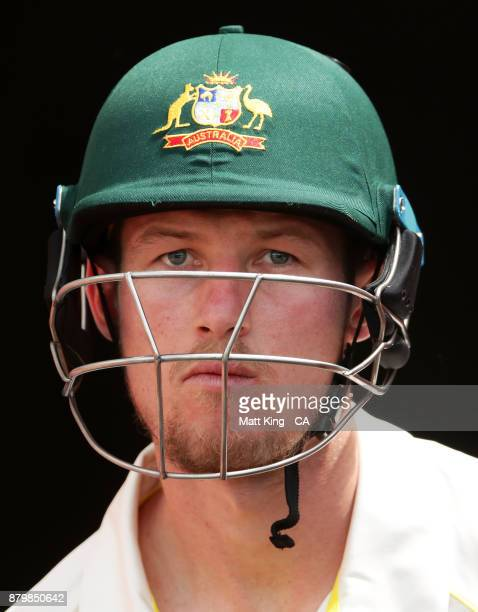 Cameron Bancroft of Australia walks onto the field to bat during day five of the First Test Match of the 2017/18 Ashes Series between Australia and...