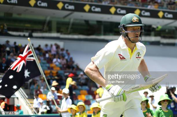 Cameron Bancroft of Australia walks out to bat during day two of the First Test Match of the 2017/18 Ashes Series between Australia and England at...