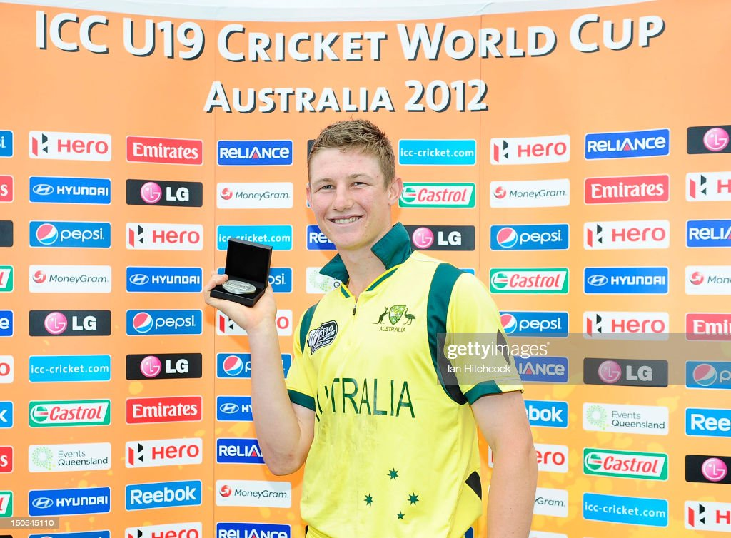 Cameron Bancroft of Australia with the Man of the Match award at the end of the ICC U19 Cricket World Cup 2012 Semi Final match between Australia and South Africa at Tony Ireland Stadium on August 21, 2012 in Townsville, Australia.