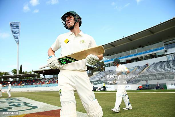 Cameron Bancroft of the Cricket Australia XI prepares to open the batting during the tour match between the Cricket Australia XI and New Zealand at...