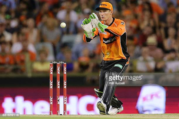 Cameron Bancroft of the Scorchers fields during the Big Bash League match between the Perth Scorchers and the Melbourne Stars at WACA on January 14...