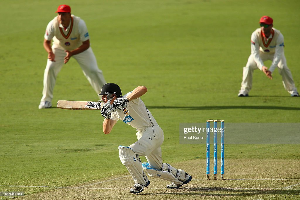 Cameron Bancroft of the Warriors bats during day one of the Sheffield Shield match between the Western Australia Warriors and the South Australia Redbacks at the WACA on November 6, 2013 in Perth, Australia.