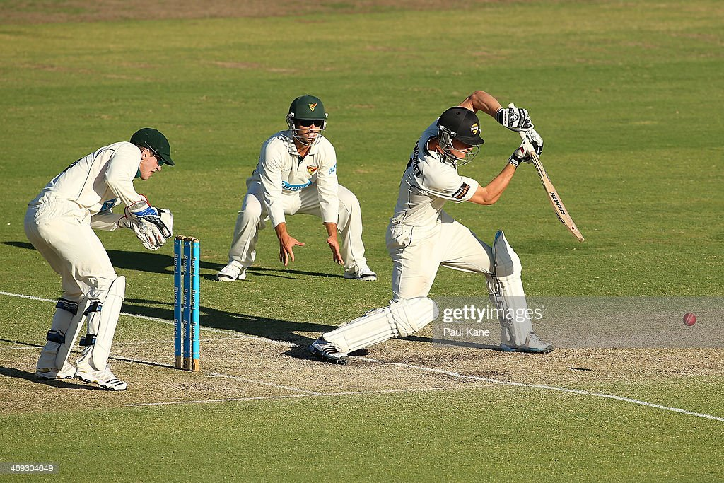 Cameron Bancroft of the Warriors bats during day three of the Sheffield Shield match between the Western Australia Warriors and the Tasmania Tigers at the WACA on February 14, 2014 in Perth, Australia.
