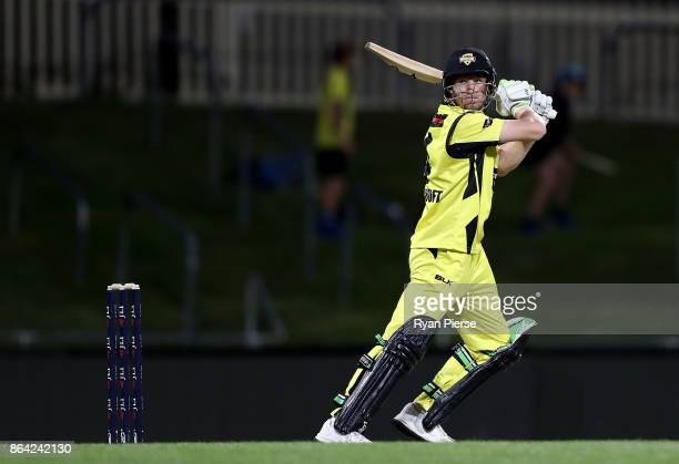 Cameron Bancroft of the Warriors bats during the JLT One Day Cup Final match between Western Australia and South Australia at Blundstone Arena on...