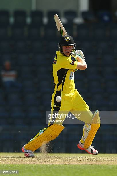 Cameron Bancroft of the Warriors bats during the Matador BBQs One Day Cup match between Victoria and Western Australia at Blacktown International...