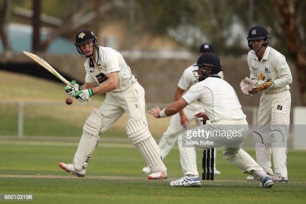 Cameron Bancroft of the Warriors bats during the Sheffield Shield match between Victoria and Western Australia at Traeger Park on March 9 2017 in...