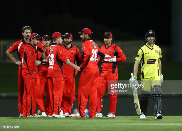 Cameron Bancroft of the Warriors looks dejected after being dismissed by Kane Richardson of the Redbacks during the JLT One Day Cup Final match...