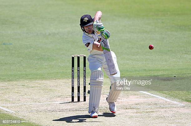 Cameron Bancroft of the Warriors plays a shot during day one of the Sheffield Shield match between Western Australia and Tasmania at WACA on November...