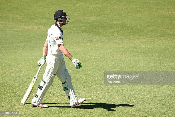 Cameron Bancroft of the Warriors walks back to the rooms after being dismissed by Daniel Worrall of the Redbacks during day three of the Sheffield...
