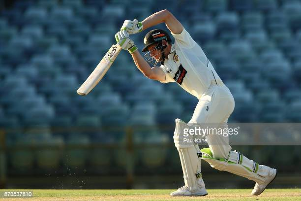 Cameron Bancroft of Western Australia bats during day one of the Sheffield Shield match between Western Australia and South Australia at WACA on...