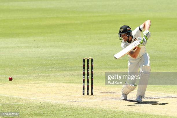 Cameron Bancroft of Western Australia bats during day three of the Sheffield Shield match between Western Australia and South Australia at WACA on...