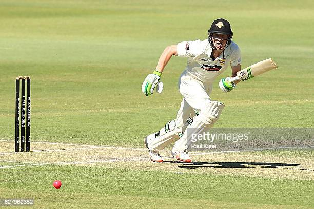 Cameron Bancroft of Western Australia bats during day two of the Sheffield Shield match between Western Australia and Queensland at WACA on December...