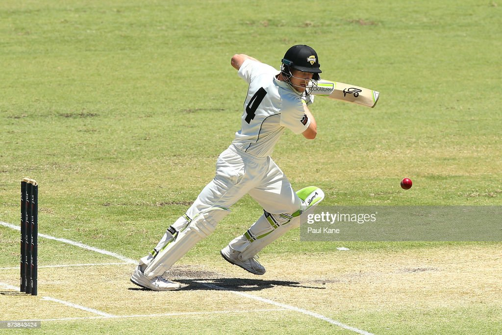 Cameron Bancroft of Western Australia bats during day two of the Sheffield Shield match between Western Australia and South Australia at WACA on November 14, 2017 in Perth, Australia.