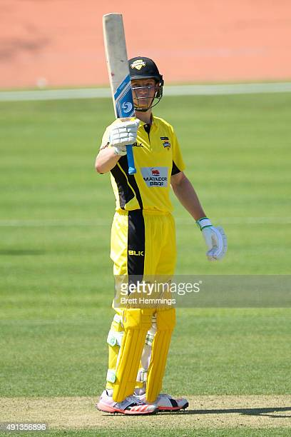 Cameron Bancroft of Western Australia celebrates after reaching his century and a half during the Matador BBQs One Day Cup match between South...