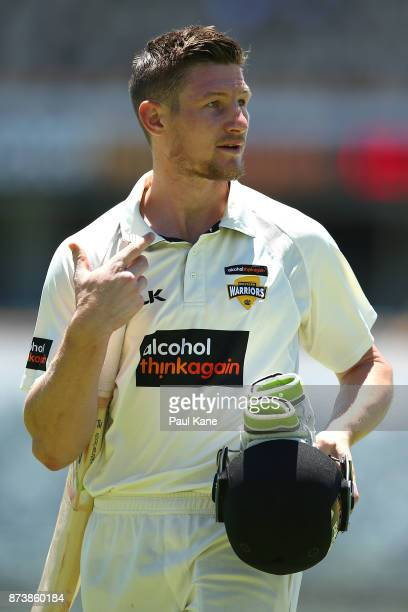 Cameron Bancroft of Western Australia looks to the scoreboard while walking from the field at the lunch break during day two of the Sheffield Shield...