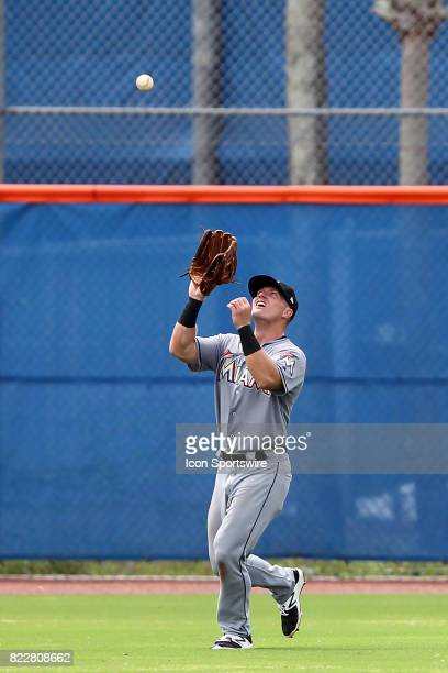 Cameron Baranek of the Marlins sets up to make a catch during the Gulf Coast League game between the Marlins and the Mets on July 21 at the New York...