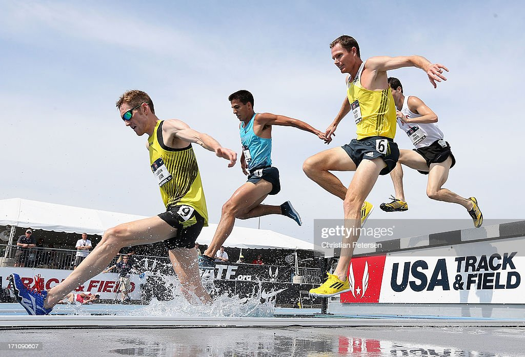 Cameron Bean, Donald Cabral, Benjamin Bruce and Craig Forys compete in the Men's 3000 Meter Steeplechase on day two of the 2013 USA Outdoor Track & Field Championships at Drake Stadium on June 21, 2013 in Des Moines, Iowa.