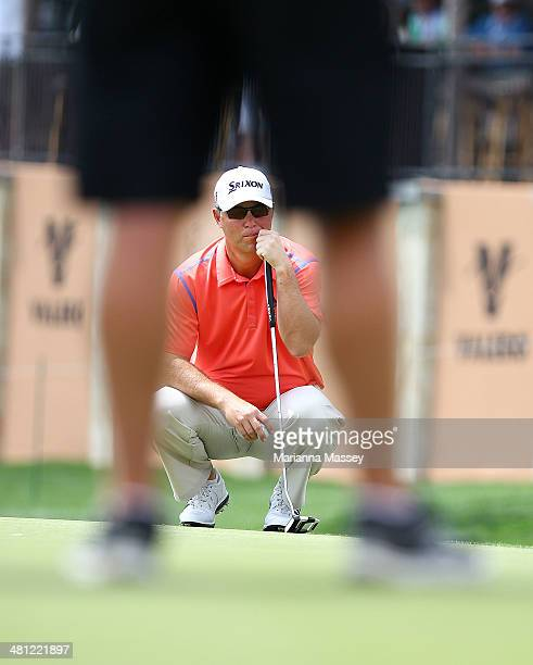 Cameron Beckman prepares to putt on the 18th during Round Two of the Valero Texas Open at TPC San Antonio ATT Oaks Courseon March 28 2014 in San...