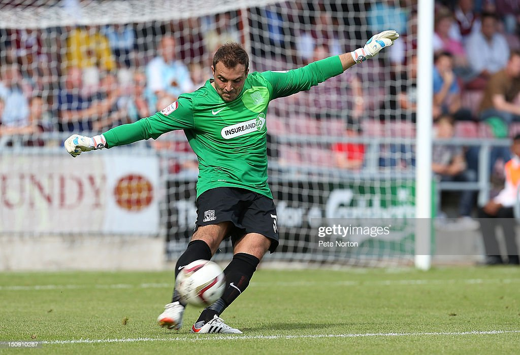 Cameron Belford of Southend United in action during the npower League Two match between Northampton Town and Southend United at Sixfields Stadium on August 25, 2012 in Northampton, England.