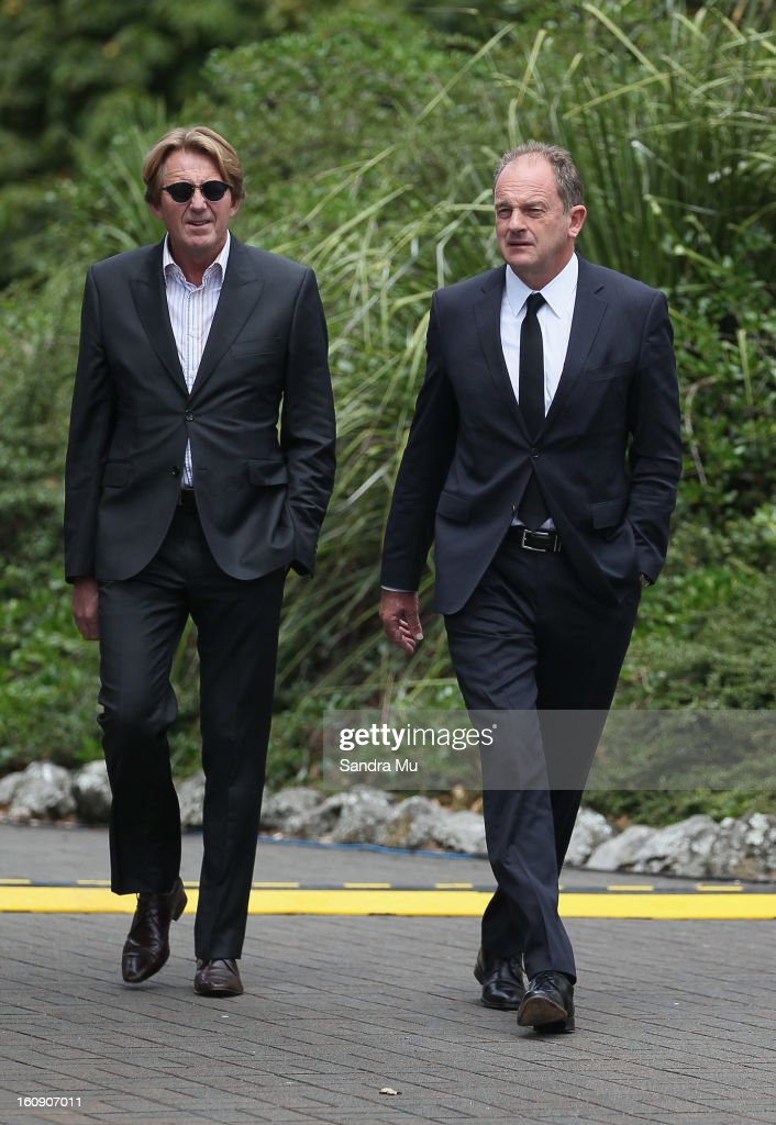 Cameron Bennett (L) and Labour Leader David Shearer arrive at Auckland Cathedral of the Holy Trinity in Parnell on February 8, 2013 in Auckland, New Zealand. Hundreds gathered to pay their respects to Sir Paul Homes who passed away last Friday after losing his battle with prostate cancer. Holmes' broadcasting career spanned over 40 years on radio and television in New Zealand, Australia, Netherlands and the UK.