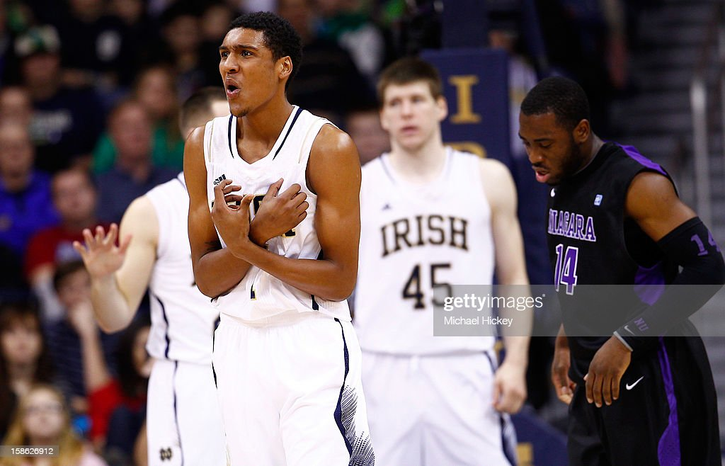Cameron Biedscheid #1 of the Notre Dame Fighting Irish reacts after a play against the Niagara Purple Eagles at Purcel Pavilion on December 21, 2012 in South Bend, Indiana.