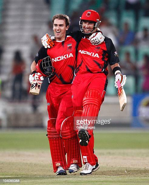 Cameron Borgas and Tom Cooper of South Australian Redbacks during the Airtel Champions League Twenty20 match between Mumbai Indians and South...
