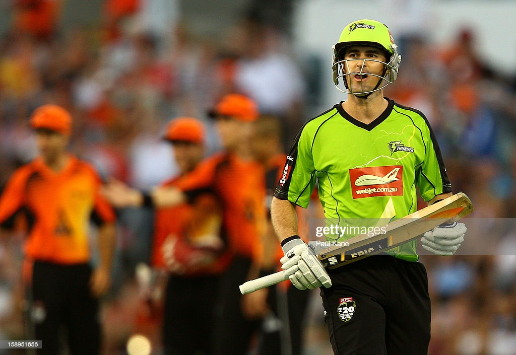 Cameron Borgas of the Thunder walks back to the rooms after being dimissed during the Big Bash League match between the Perth Scorchers and the Sydney Thunder at WACA on January 4, 2013 in Perth, Australia.